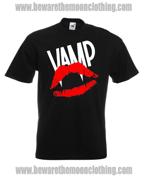 Mens black Vamp 80s Horror Vampire Movie T shirt