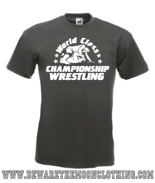 Mens graphite WCCW World Class Championship Wrestling T Shirt