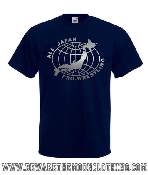 Mens navy All Japan Pro Wrestling T Shirt