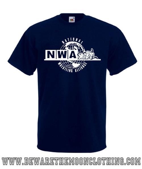 Mens navy NWA National Wrestling Alliance Wrestling Logo T Shirt