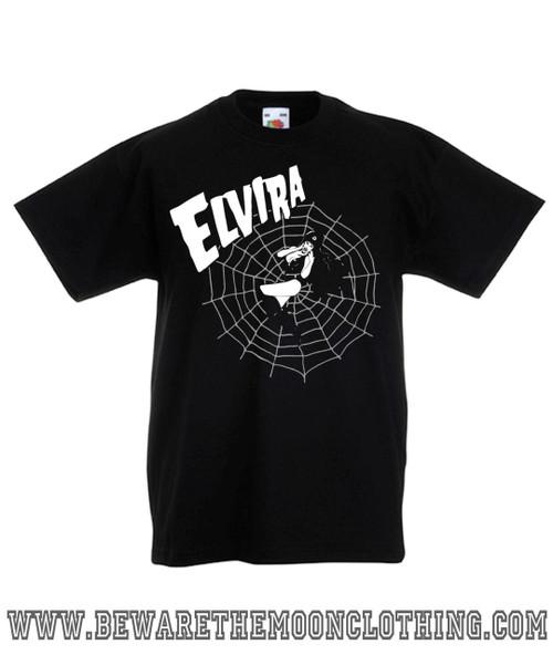 eb5cd5bf0 ... Kids Elvira Gothic Web design on a black Super Premium Fruit Of The Loom  T Shirt ...