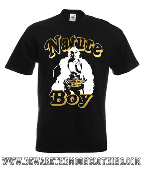 Mens Black Nature Boy Ric Flair Wrestling T Shirt in metallic gold and white print on a Super Premium Fruit Of The Loom T Shirt