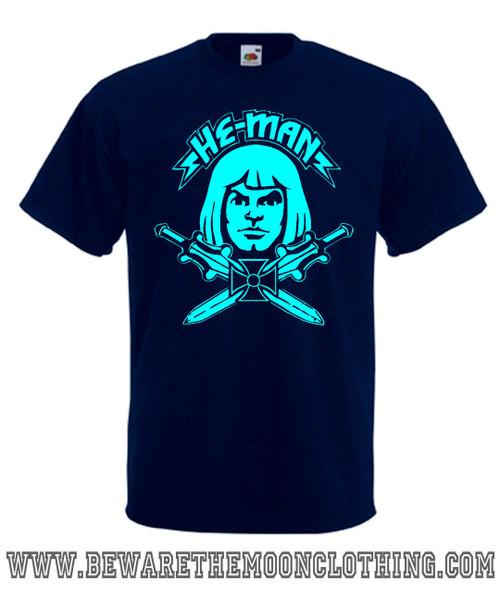 Mens Navy Blue He Man 80s cartoon T Shirt