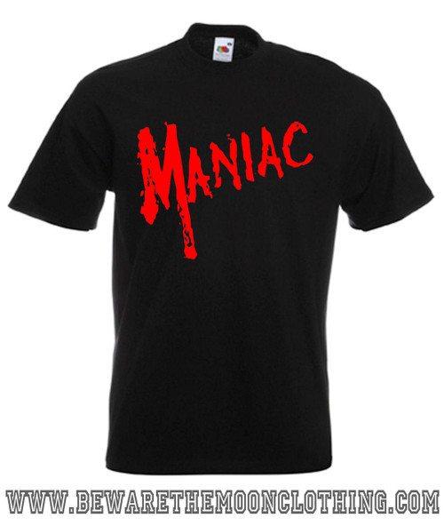 Mens black Maniac Horror Movie T Shirt