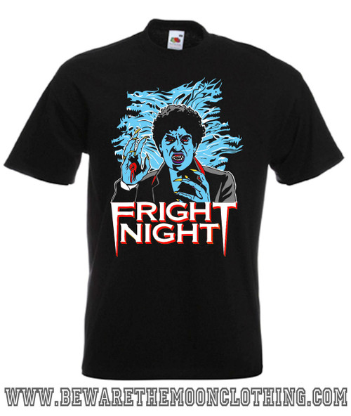 Mens black Fright Night 80s Horror Movie T Shirt
