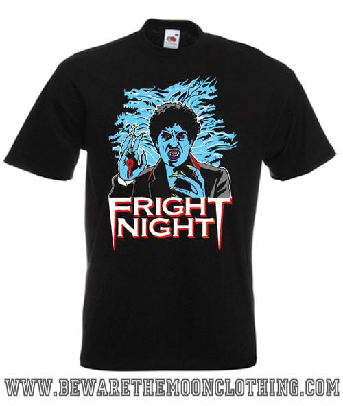 Mens black Fright Night 80s Horror Movie T Shirt