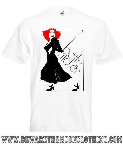 Mens white Bette Midler Album music T Shirt