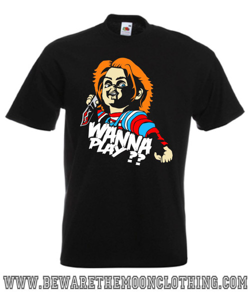 Childs Play Wanna mens black retro horror movie T Shirt