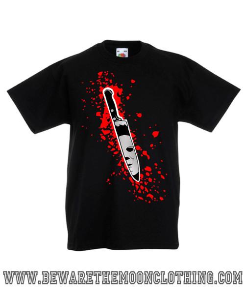1326bd5b ... Halloween Michael Myers Knife Retro Horror Movie kids black T Shirt ...