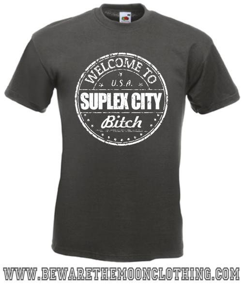 Suplex City Mens Graphite Wrestling T shirt
