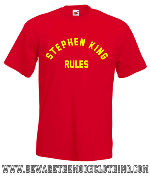 Stephen King Rules Monster Squad Retro 80s Movie T Shirt Mens Red