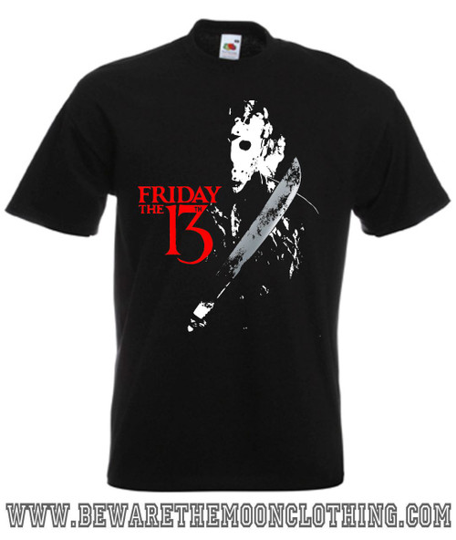 Friday The 13th Retro Horror Movie T Shirt Mens Black