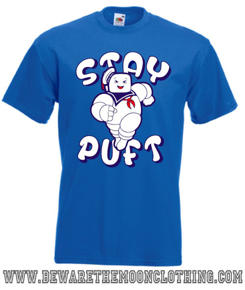 Stay Puft Marshmallow Man Ghosbusters Retro Movie T Shirt mens royal blue