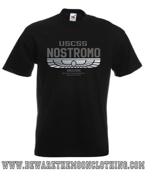 Nostromo Alien Retro Movie T Shirt mens black