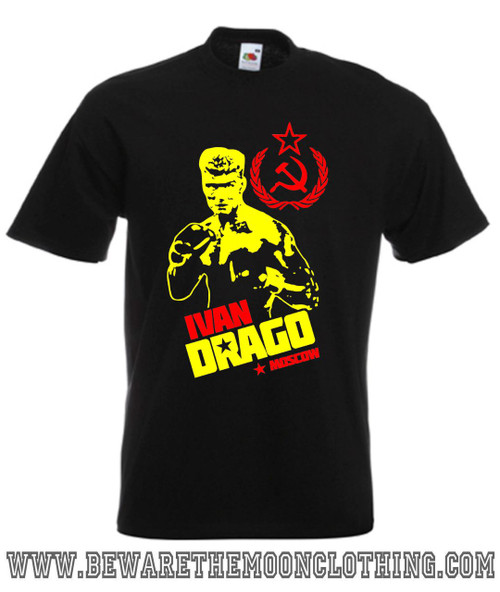 Ivan Drago Dolph Lundgren Rocky IV Retro Movie T Shirt mens black