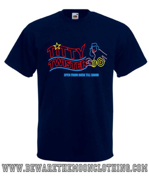 Titty Twister From Dusk Till Dawn Vampire Horror Movie T Shirt mens navy
