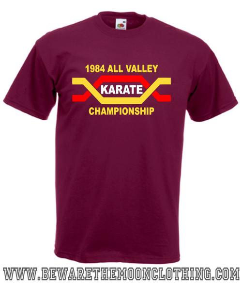 Karate Kid All Valley Karate Championship Retro Movie T Shirt mens burgundy