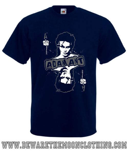 Adam Ant Retro 80s Music T Shirt mens navy