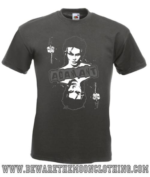 Adam Ant Retro 80s Music T Shirt mens graphite
