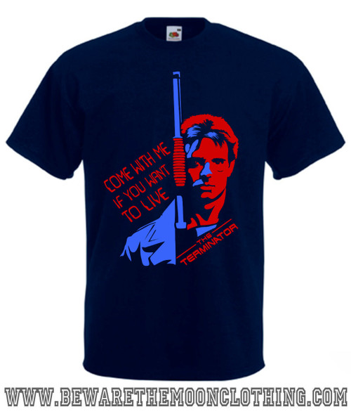 Terminator Kyle Reese Retro Movie T Shirt Mans Navy