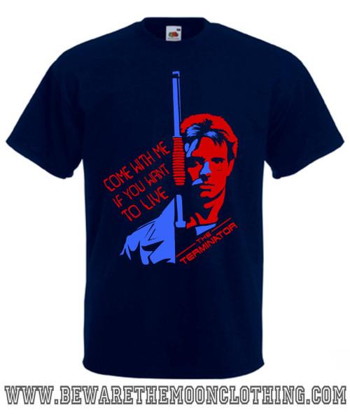 Terminator Kyle Reese Retro Movie T Shirt Mans Navy