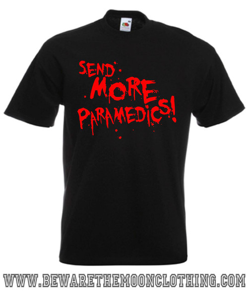 Mens black Send More Paramedics Return Of The Living Dead Horror Movie T Shirt