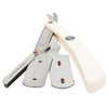 Parker SRW White Resin Handle Stainless Steel Clip Type Straight Edge Razor