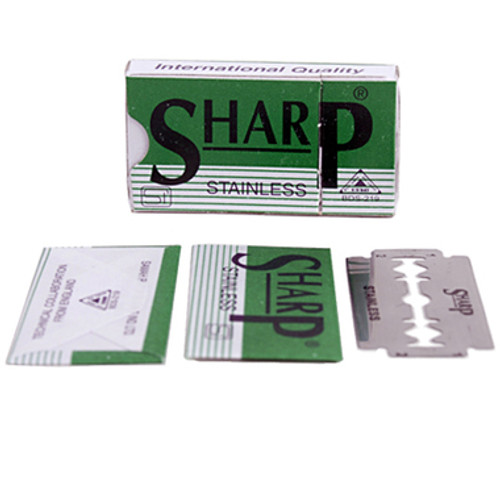 Sharp Stainless Polymer Double Edge Blades - 10 count