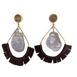 Amythest leather fringe statement earrings