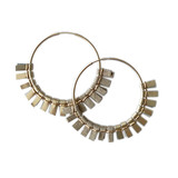 Large metallic gold leather and tan suede hoop earrings