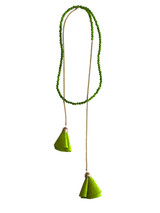 Citrus green wrap necklace with suede flowers