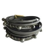 Grey multi wrap leather bracelet with pyrite stones