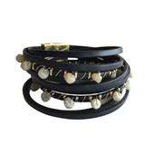 Navy multi layer leather wrap bracelet with labradorite stones