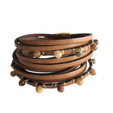 Brown leather multi-layer wrap bracelet with agate