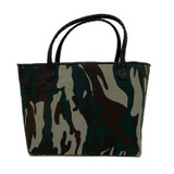 Green camo mini tote with matte black trim and handles