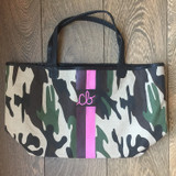 Large camo tote with monogram and stripes