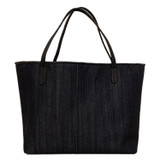 Black denim tote with matte black python trim and handles