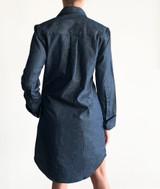 Denim long sleeve boyfriend shirt dress with pockets