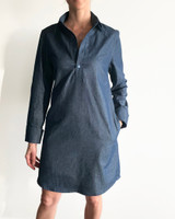 Denim boyfriend shirt dress front