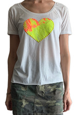 White scoop neck tee with a tie-dye heart design