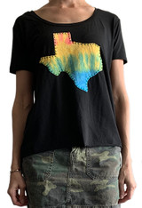 Black scoop neck with Texas tie-dye design