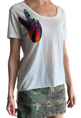 White scoop neck with tie-dye Peace Sign design