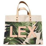 Veg-tan monogram on palm leaf print canvas large market tote