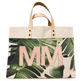 Veg-tan leather double monogram on palm leaf print canvas large market tote