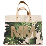 Metallic gold leather double monogram on palm leaf print canvas large market tote