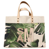 Veg-tan block monogram on palm leaf print canvas large market tote