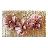 Pink roses on a palm leaf clutch