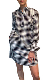 Navy and white gingham long sleeve shirt dress with pockets