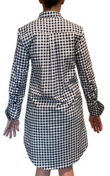Long sleeve navy and white gingham dress back