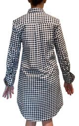 Long sleeve navy and white gingham dress back